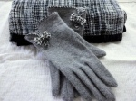 Grey gloves and matching scarf