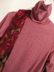 Scarlet turtleneck with floral scarf