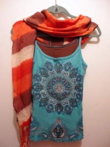 Summer tank duo with cotton scarf