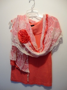 Sleeveless cowl neck top with lace scarf