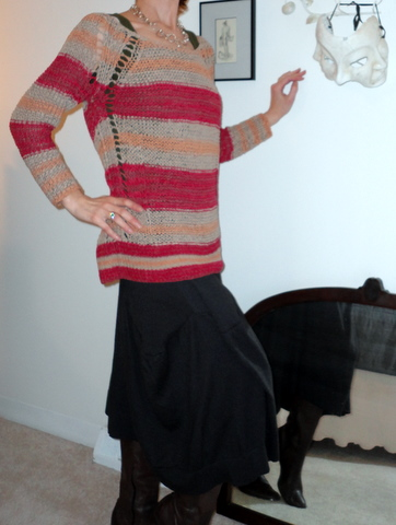 Ribbon-weave top with dark brown skirt