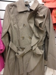 Dark khaki coat with ruffle lapel