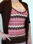 Sparkling pink knit tank top