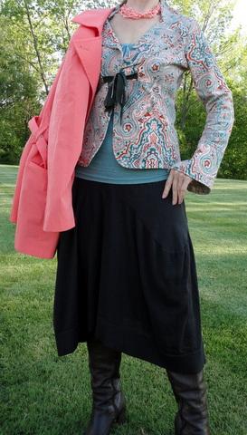 Brown skirt from Juma Gallery; raincoat from NY&Co.