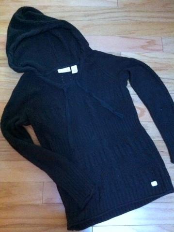 Black DKNY cotton-knit hoodie