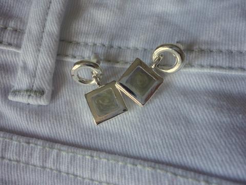 White, tan and grey earrings
