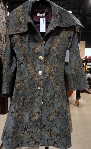 Silk tapestry coat by Ollie Sang