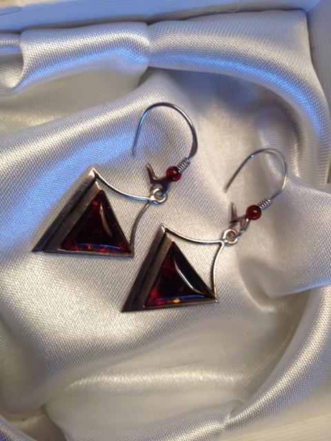 Amber triangle earrings