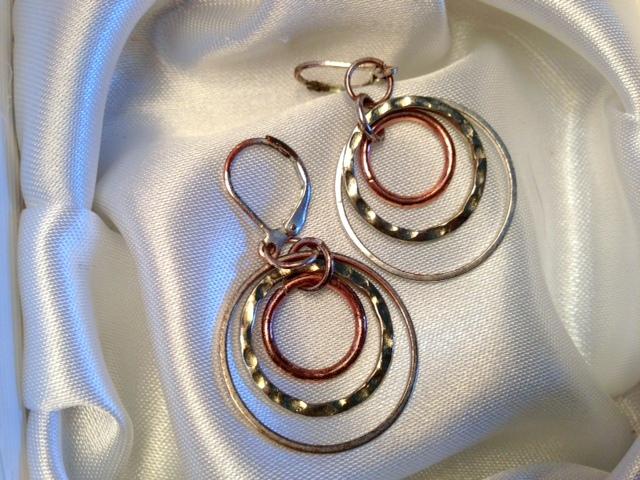 Tri-color ring earrings