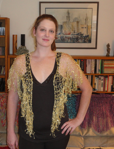 Abby modeling an MZ Bead shawl