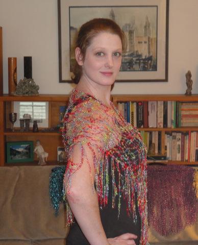 Abby modeling an MZ Bead shawl