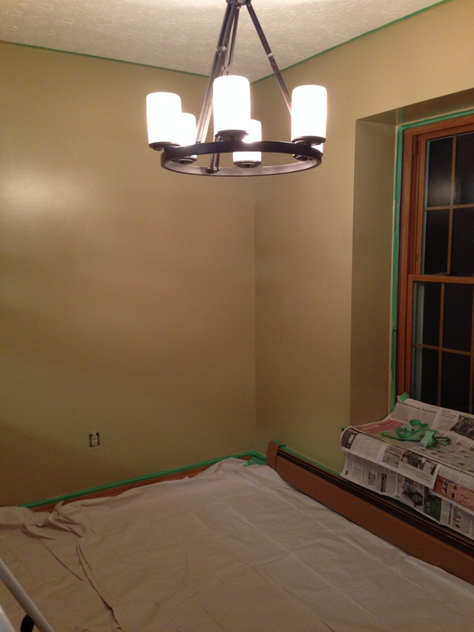 This is the seating area, painted Soft Suede. You can see how green it looks on our walls. Luckily, we both love green.