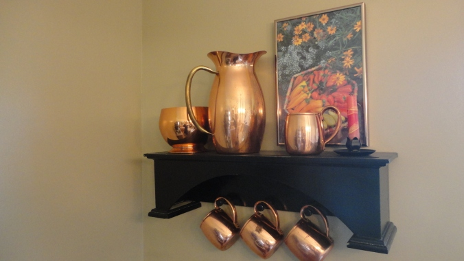Case in point. We found this set of copper mugs for $12 at the Painesville Craft and Antique Co-op. Not even $12 each, but all four for $12! Made in the USA. Gorgeous.
