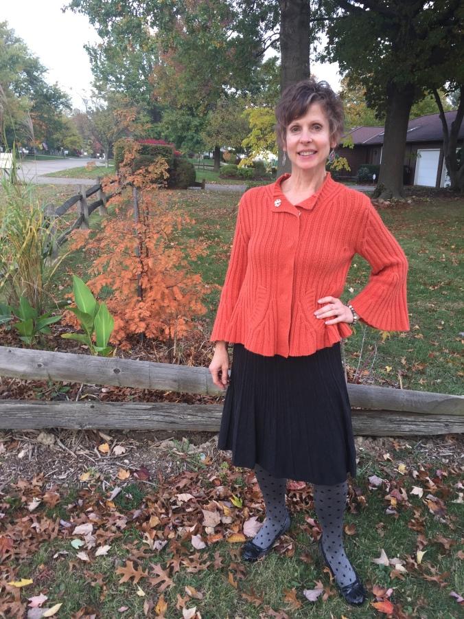 Elle in orange/grey outfit 4
