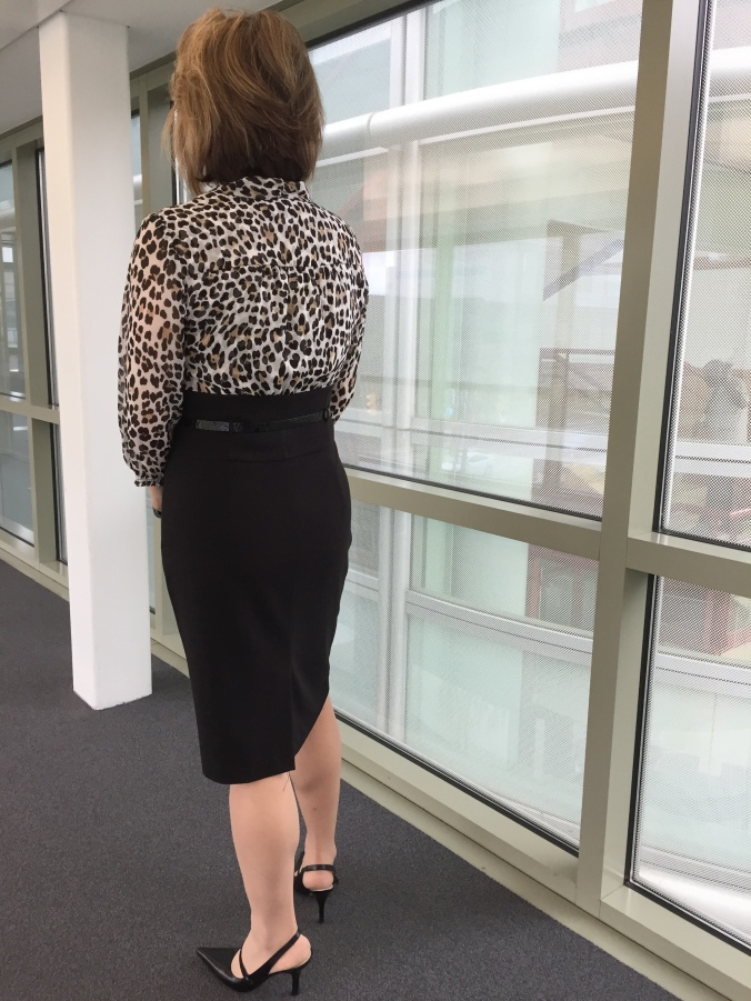 Amy Moore in White House Black Market dress (back view)