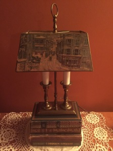 Abby & Elle Upstairs Fashion & Design antique painted shade lamp