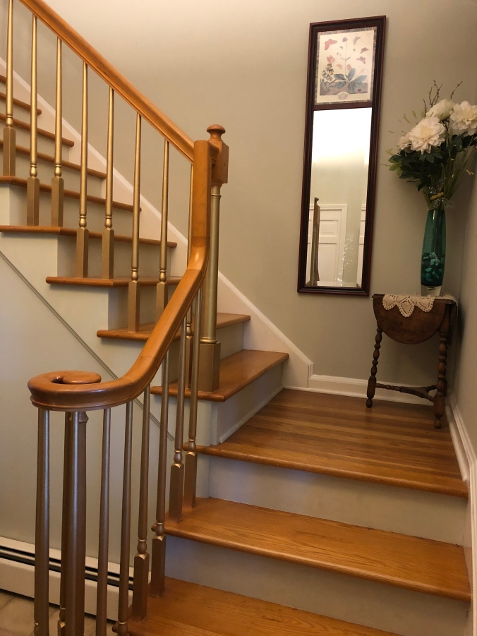 staircase spindles painted gold