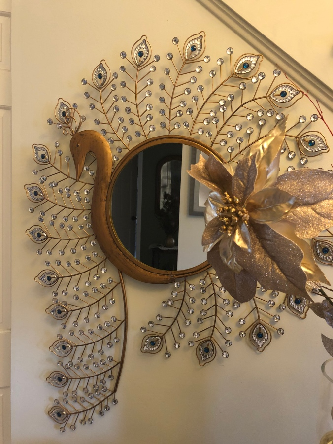 gold peacock mirror